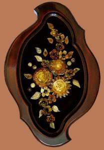 Panel from amber 'Flowers'. Artwork by Galina Baltamber