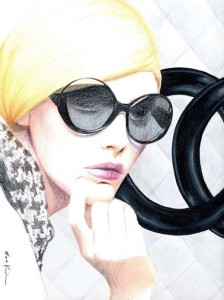 Chanel Sunglasses. Pencil Drawing Fashion Illustration