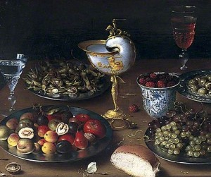 Still Life with Nautilus Cup, Fruit, Nuts and Wine. Flemish painter Osias Beert the elder c.1580–1624