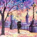Streets of London. Painting on silk by Smolensk based artist Elena Prudnikova