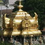 The golden shrine over the sanctum of Meenakshi