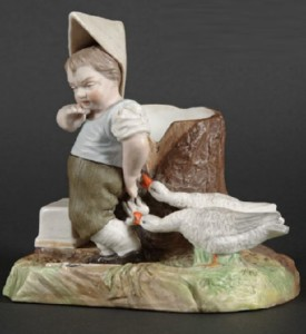 A boy with geese. Porcelain composition. Vintage matchbox safe