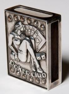 Poker club. Vintage matchbox holder