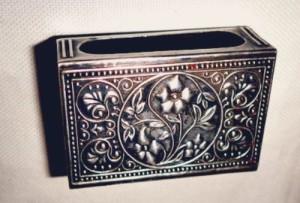 Floral motif. Vintage matchbox holder