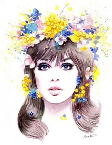 1960s Fashion Model Jean Shrimpton. Watercolor. Fashion illustration