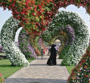 Arches of Petunia in the shape of hearts