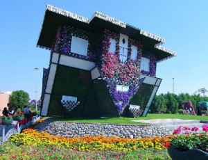 Upside-down house in the Miracle Garden