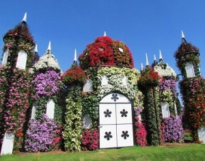 Fabulous Medieval castle, studded with flowers. Dubai Miracle Topiary art