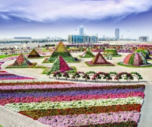 Pyramids of various shapes in the center of the garden