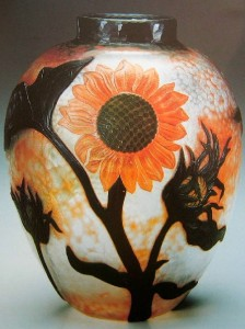 Sunflowers. Art Nouveau style vase