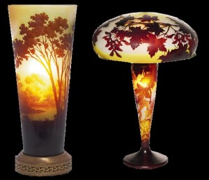 Two beautiful Emile Galle Art Nouveau lamps