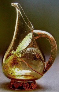 Jar-vase with a picture of a dragonfly