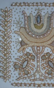 Pearl an gold thread. Fragment of Panel 'My Fatherland' embroidered in the technique of golden ornamental embroidery