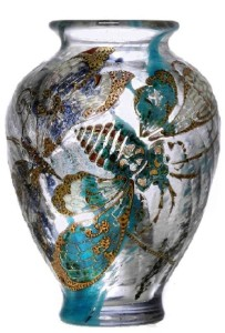 Butterfly wings. Art Nouveau style vase by Emile Galle