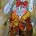 A hare in a fox collar. Painting by Belarusian artist Anna Silivonchik