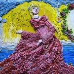 One of the daughters from the fairy-tale . Plasticine painting on fairy tale The Scarlet Flower