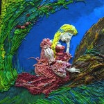 Closeup. Plasticine painting on fairy tale The Scarlet Flower