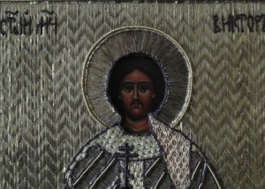 The salary of the icon of St. Victor made in the technique of ancient sewing of 17-18 century