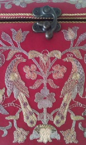 Handmade embroidery with natural silver threads of natural silk