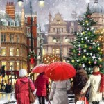Red umbrellas. Christmas eve in painting by Richard Macneil