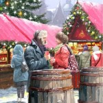 Meeting at Christmas. Painting by Richard Macneil