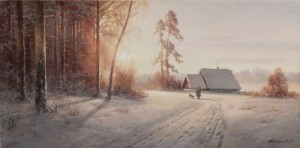 Winter landscape. Oil on canvas. Painting by Russian artist Dmitry Kolpashnikov