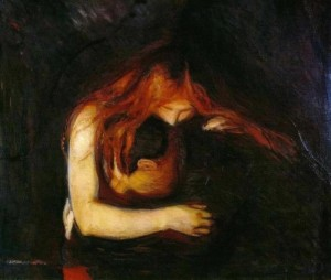 A vampire. Love and Pain, 1897. Mysterious Edvard Munch