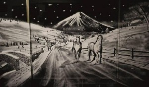 Horses on the road. Christmas joy in painting on windows by English artist Tom Baker