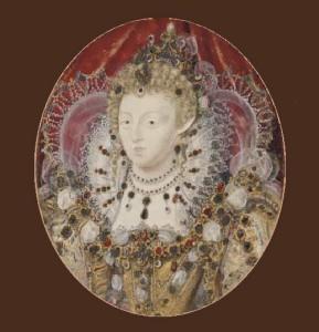 Elizabeth I of England, c.1595-1600, auctioned by Christie's, London, in June 2007, for £276,000 ($560,000). Nicholas Hilliard portrait miniature