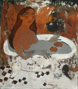 In the bath. Painting by Elena Schumacher
