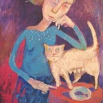 Mother-cat. Painting by Elena Schumacher