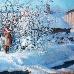 Snowy afternoon. Russian Winter in painting by Vladimir Zhdanov