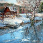 At the river. Oil on canvas. Painting by Vladimir Zhdanov