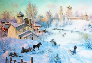 Provincial town. Oil on canvas. Painting by Vladimir Zhdanov