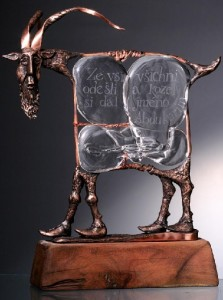 Abdukarim, the Goat. Engraved glass and metal sculpture by Dalibor Nesnidal