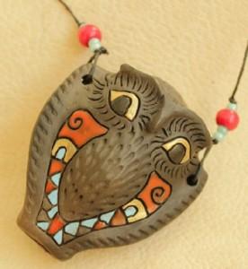Altai clay ocarina Owl
