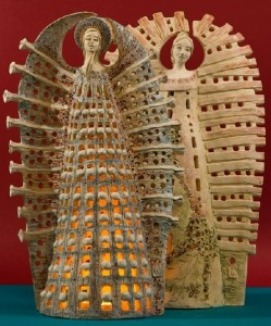 Sculptural composition of two angels. Ceramic artist Marta Wasilczyk
