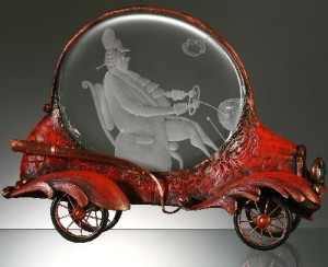 Baroque auto engraved glass, metal and wood, sculptural composition by Dalibor Nesnidal