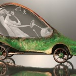 Baroque auto. Engraved glass and metal sculpture by Dalibor Nesnidal