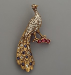 Brooch in the form of a peacock. Gold, diamonds, roses, rubies, sapphires. Russia, 1880