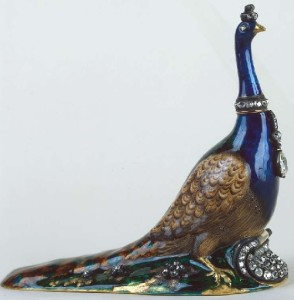 Perfume bottle in the shape of a peacock. Gold, silver, diamonds, enamel. Russia, 1770 - 1780-s