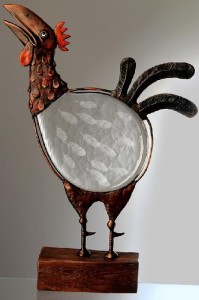 Rooster. Engraved glass and metal sculpture by Czech glass artist Dalibor Nesnidal