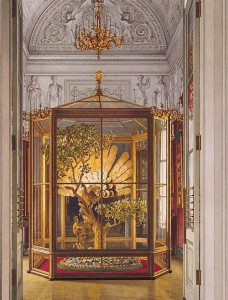The Peacock Clock is constantly exhibited in the Pavilion Hall of the Small Hermitage