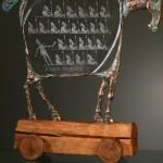 Trojan Horse. Engraved glass and metal sculpture by Czech glass artist Dalibor Nesnidal