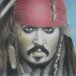 Captain Jack Sparrow. Pencil drawing by Ukrainian artist Ekaterina Putyatina