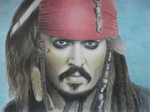 Captain Jack Sparrow. Pencil drawing by Ukrainian artist Ekaterina Putyatina