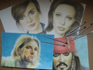 Celebrities - Keira Knightley, Kurt Cobain, Angelina Jolie, Johnny Depp