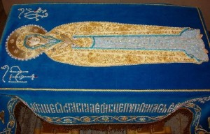 Central part of Our Godmother Shroud. Ubrus Gold embroidery