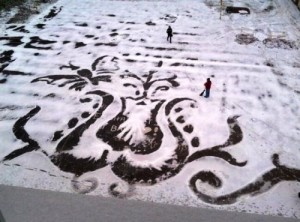 Flower and butterfly. Painting on the snow