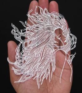 A beautiful girl papercut silhouette